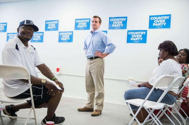 PHOTO: Dan McCready, Democratic candidate for North Carolina's 9th District, talks with voters at his campaign office in Elizabethtown, N.C., Aug. 10, 2019. (Tom Williams/CQ-Roll Call/Getty Images)
