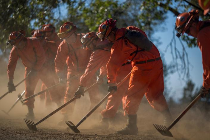 Inmate firefighters from Oak Glen Conservation Camp clear vegetation that could fuel a wildfire near Yucaipa, Calif., in 2017. (David McNew/AFP via Getty Images)