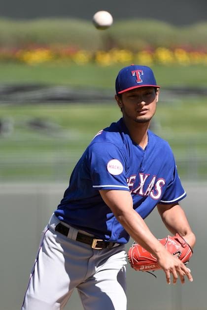Yu Darvish pitches in the first inning on Saturday. (Getty)