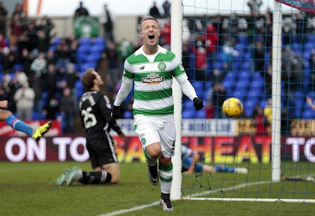 "Football Soccer - Inverness Caledonian Thistle v Celtic - Ladbrokes Scottish Premiership - Tulloch Caledonian Stadium - 29/11/15 Leigh Griffiths celebrates after scoring the second goal for Celtic Action Images via Reuters / Graham Stuart Livepic EDITORIAL USE ONLY. No use with unauthorized audio, video, data, fixture lists, club/league logos or ""live"" services. Online in-match use limited to 45 images, no video emulation. No use in betting, games or single club/league/player publications. Please contact your account representative for further details."