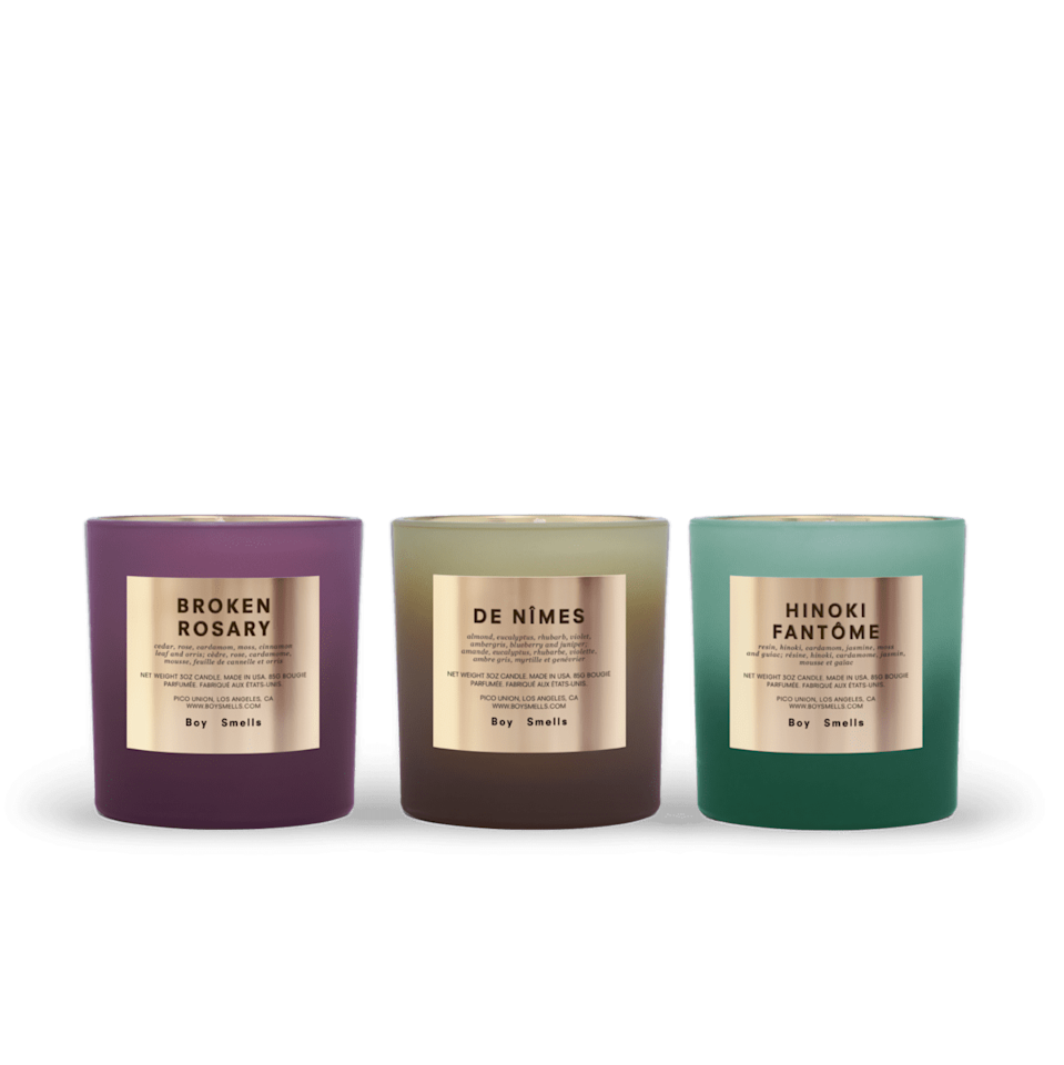 """<p>""""As many of us continue to work from home (and recover from all that has been 2020), candles are an instant way to bring serenity to your beauty ritual in the morning. I find that lighting one up right as I begin my makeup routine is therapeutic, and this <span>Boy Smells Rituals Votive Set</span> ($58) is living proof. With three calming scents: Broken Rosary, De Nîmes, and Hinoki Fantôme, your vanity space will quietly transform into a retreat that smells like cozy cinnamon, tangy juniper, or tranquil moss. We all deserve a beauty routine that relaxes and preps us for our days, and all it takes is a strike of a match with a gift like this to help us get there."""" - Alanna Martine Kilkeary, associate editor, Makeup.com</p>"""