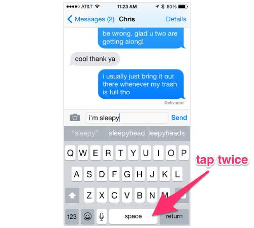 iPhone Messages screen