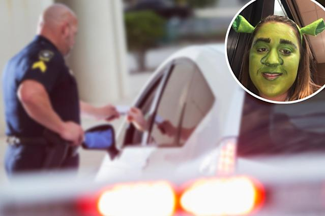A teen's Shrek makeup look didn't save her from getting ticketed. (Photos: Getty Images; Twitter/_haybayy)