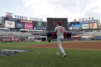 Los Angeles Angels pitcher Shohei Ohtani walks onto the field to warm up for his start against the New York Yankees in a baseball game on Wednesday, June 30, 2021, in New York. (AP Photo/Adam Hunger)