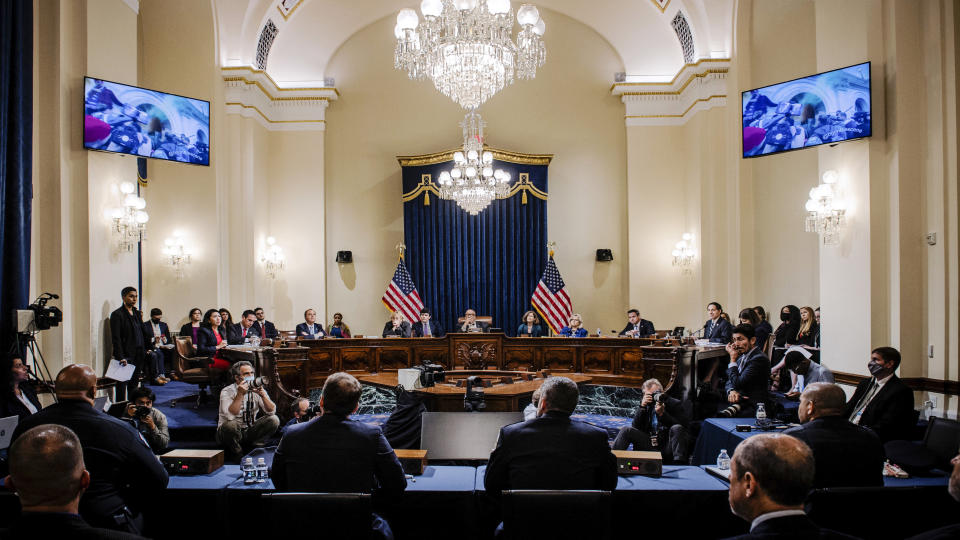 A video of the Jan. 6 insurrection is displayed during the House select committee hearing on the Jan. 6 attack on Capitol Hill in Washington, Tuesday, July 27, 2021. (Bill O'Leary/The Washington Post via AP, Pool)