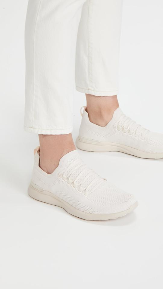 """<p>These light tan <product href=""""https://www.shopbop.com/techloom-breeze-sneakers-apl-athletic/vp/v=1/1542259472.htm?folderID=13439&amp;fm=other-shopbysize-viewall&amp;os=false&amp;colorId=13822&amp;ref_=SB_PLP_NB_81"""" target=""""_blank"""" class=""""ga-track"""" data-ga-category=""""Related"""" data-ga-label=""""https://www.shopbop.com/techloom-breeze-sneakers-apl-athletic/vp/v=1/1542259472.htm?folderID=13439&amp;fm=other-shopbysize-viewall&amp;os=false&amp;colorId=13822&amp;ref_=SB_PLP_NB_81"""" data-ga-action=""""In-Line Links"""">APL Techloom Breeze Sneakers</product> ($200) are so gorgeous. They'll look great paired with other light colors, and they're also full workout sneakers. Plus, they're super comfortable.</p>"""