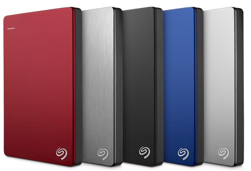 A lineup of five Seagate hard disk drives in various colors