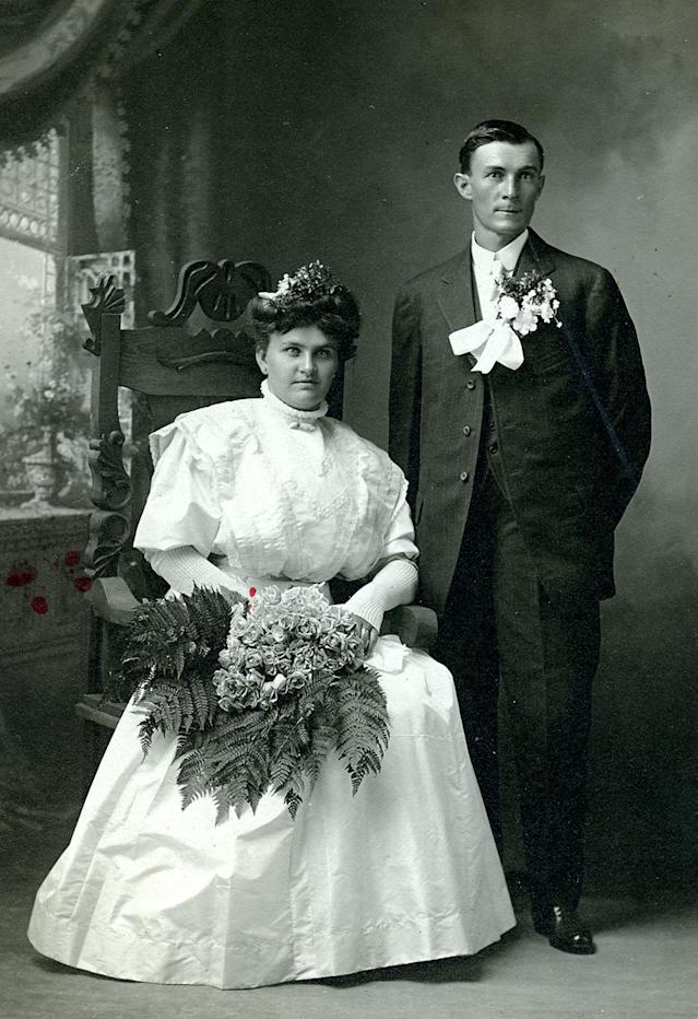 "<p>The earliest photographs of people smiling do, in fact, predate the images in the exhibit, but for wedding photographs it was commonplace for people to look stoic — perhaps for technical reasons, as images had to be shot on long exposures. (Pictured: Vintage wedding portraits from ""I Do, I Do"" exhibit) </p>"