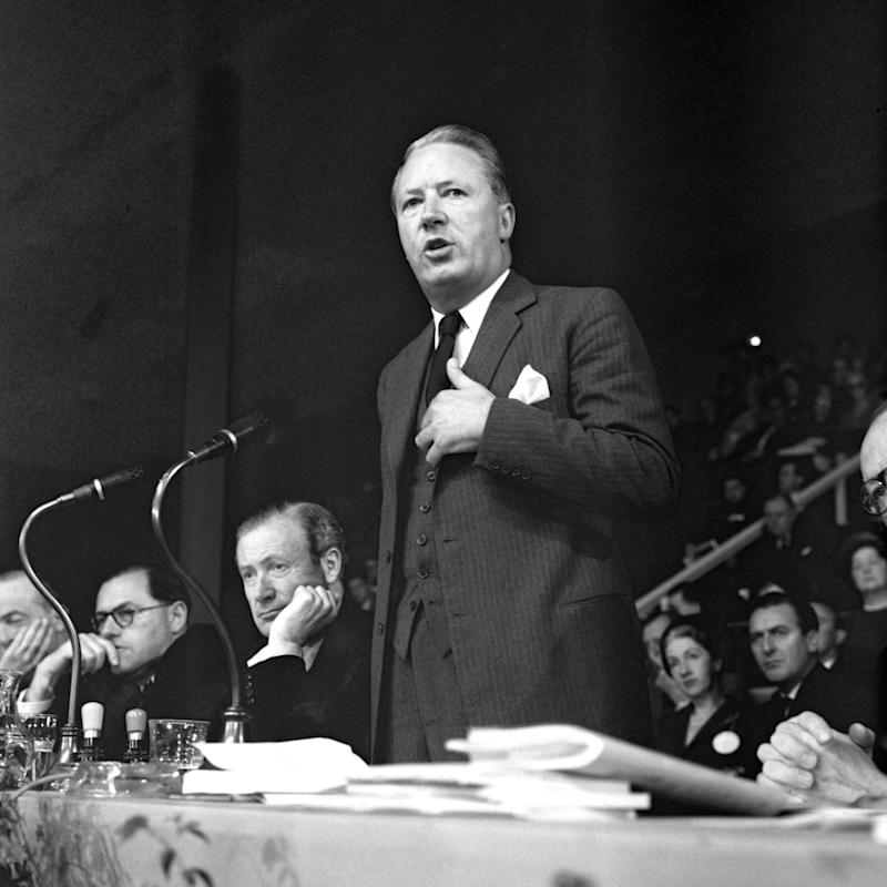 Edward Heath addressing the Conservative Party conference in Brighton in 1961 - PA