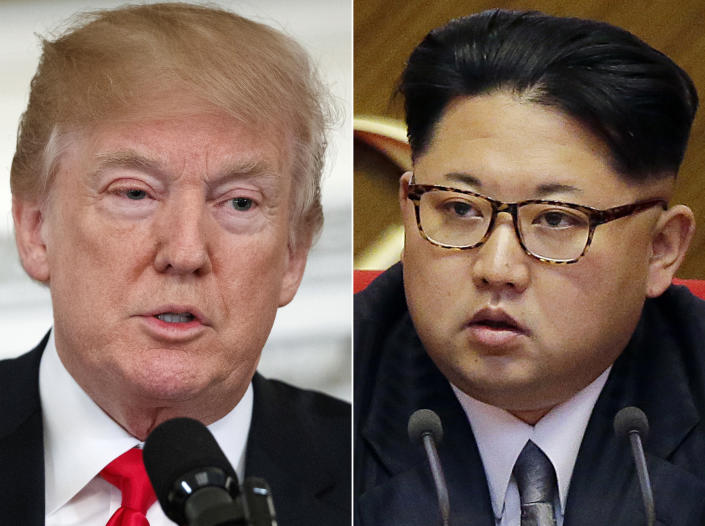 "<p> FILE - This combination of two file photos shows U.S. President Donald Trump, left, speaking in the State Dining Room of the White House, in Washington on Feb. 26, 2018, and North Korean leader Kim Jong Un attending in the party congress in Pyongyang, North Korea on May 9, 2016. Kim Jong Un is ""Little Rocket Man"" no more. In the year since Donald Trump's searing, debut UN speech fueled fears of nuclear conflict with North Korea, the two leaders have turned from threats to flattery. But as the U.S. president readies his second address to the world body, likely in Kim's absence, he'll have to address the elephant in the room _ North Korea's continuing reluctance to disarm. (AP Photo/Evan Vucci, Wong Maye-E, File) </p>"