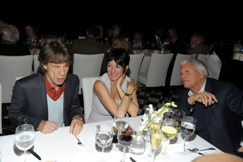 "<div class=""inline-image__caption""><p>Mick Jagger, Ghislaine Maxwell and Larry Gagosian attend Ed Ruscha Psycho Spaghetti Westerns Opening Dinner at Mr. Chow on February 24, 2011 in Beverly Hills, CA. </p></div> <div class=""inline-image__credit""> Patrick McMullan/Patrick McMullan via Getty</div>"