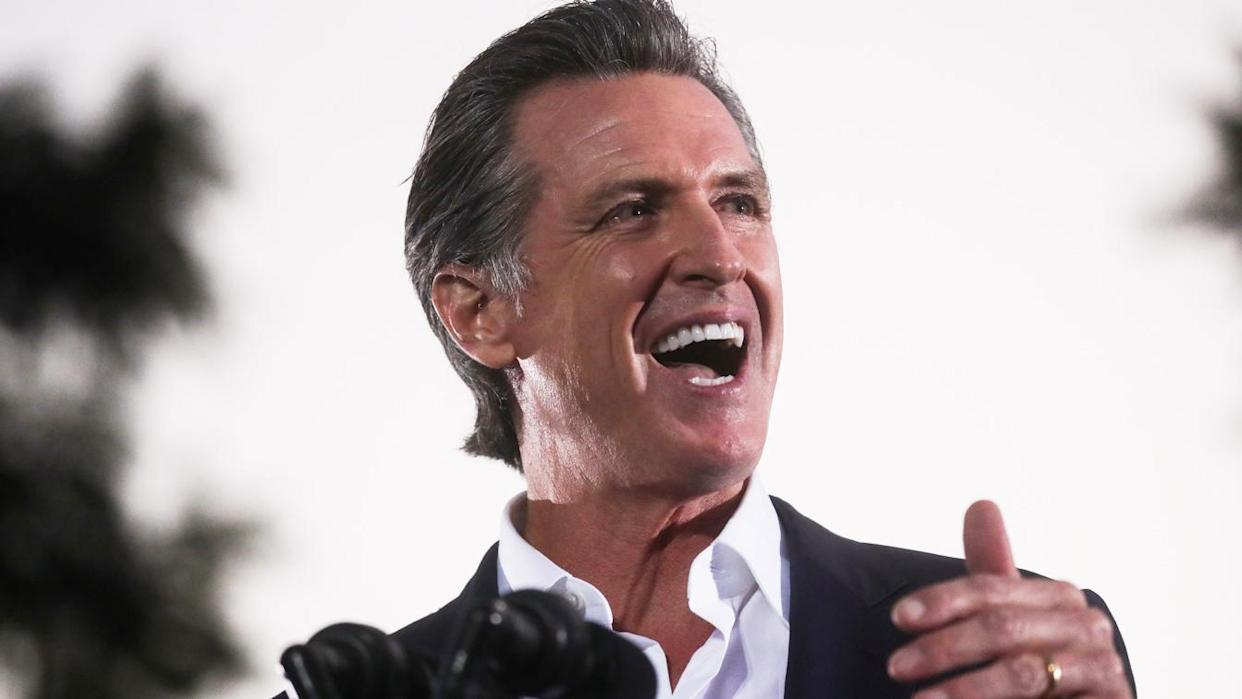 California Governor Gavin Newsom, who faces a September 14 recall election, speaks during a campaign event at Long Beach City College Liberal Arts Campus in Long Beach, California, U.S., September 13, 2021.