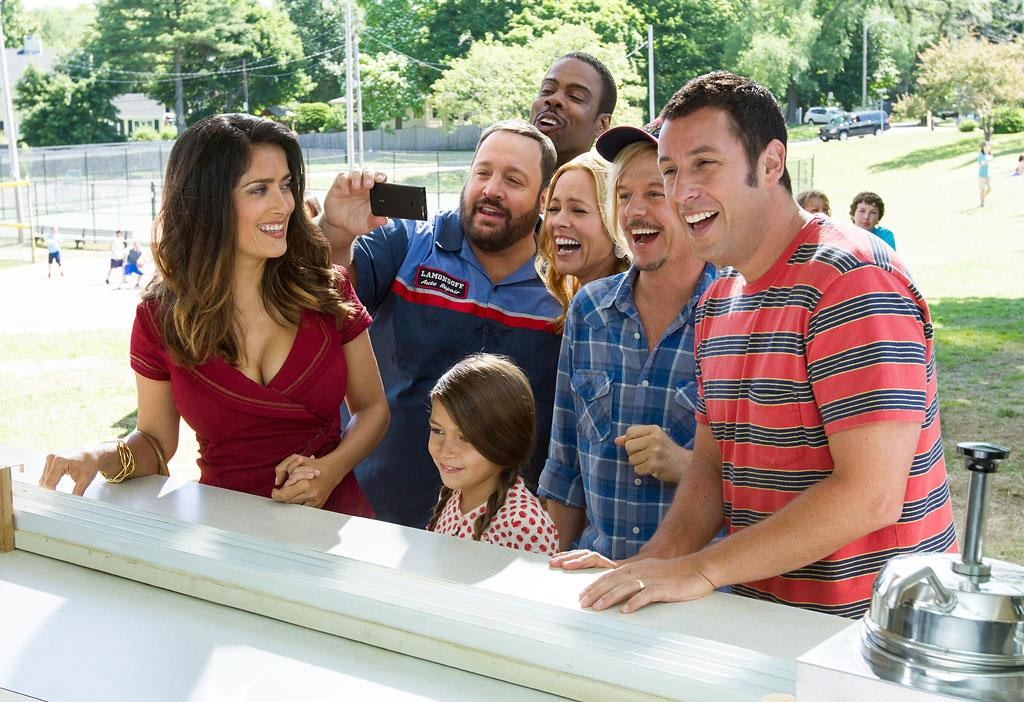 "Salma Hayek, Adam Sandler, Chris Rock, Maria Bello, David Spade and Kevin James in Columbia Pictures' ""Grown Ups 2"" - 2013"