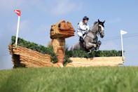 <p>Oliver Townend of Team Great Britain riding Ballaghmor Class clears a jump during the Eventing Cross Country Team and Individual on day nine of the Tokyo 2020 Olympic Games at Sea Forest Cross-Country Course on August 01, 2021 in Tokyo, Japan. (Photo by Leon Neal/Getty Images)</p>