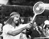 <p>South African tennis player Ray Moore preparing to serve at the Wimbledon Tennis Championships on June 22, 1971.</p>