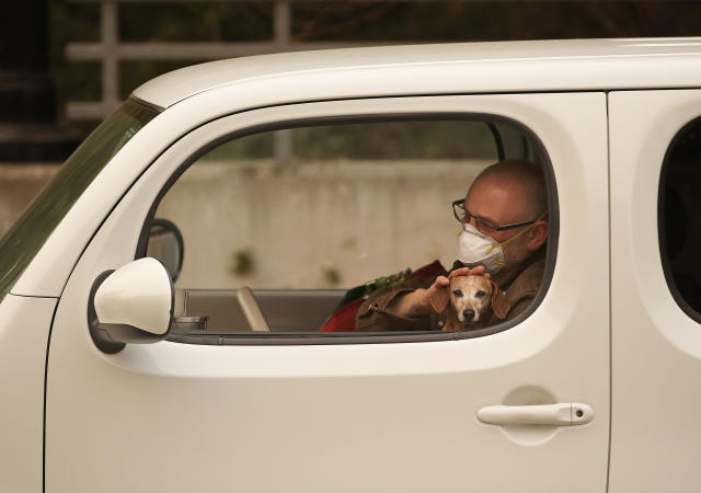 <p>Chris Shiery pets his dog, Ruby, while waiting to evacuate the town of Sonoma, Calif., on Oct. 11, 2017. For many residents in the path of one of California's deadliest blazes, talk is of wind direction, evacuations and goodbyes. (Photo: Rich Pedroncelli/AP) </p>