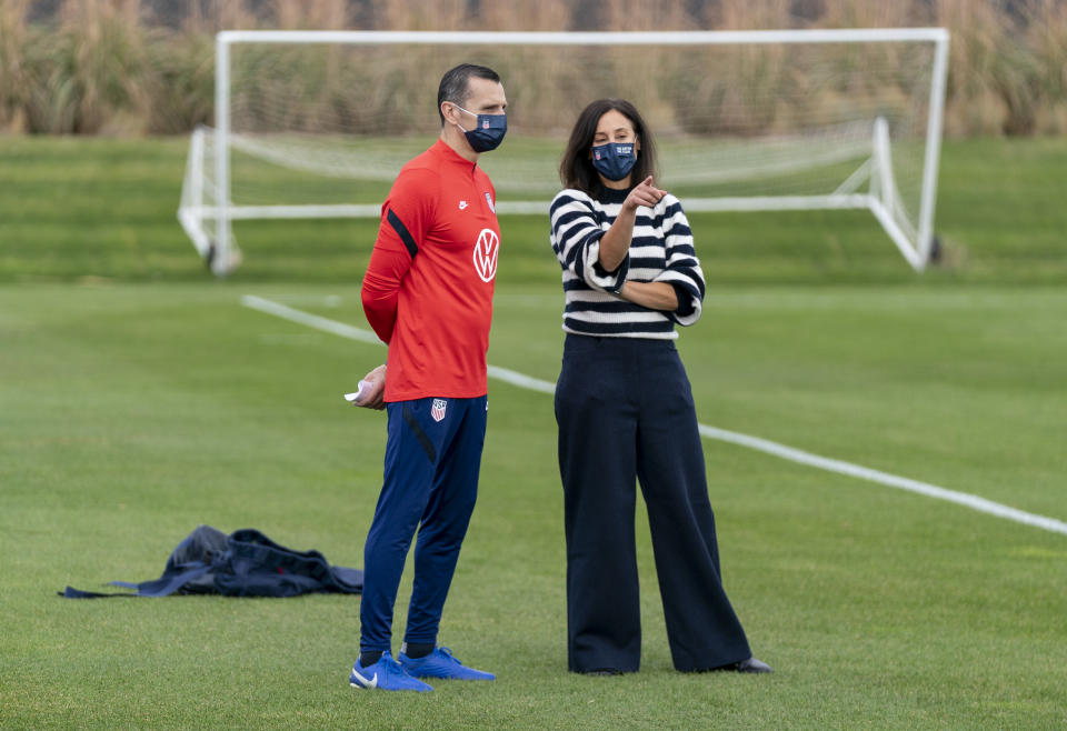 Kate Markgraf isn't micromanaging USWNT head coach Vlatko Andonovski as general manager of the women's program. Rather, she wants to set him up for success.  (Photo by Brad Smith/ISI Photos/Getty Images).