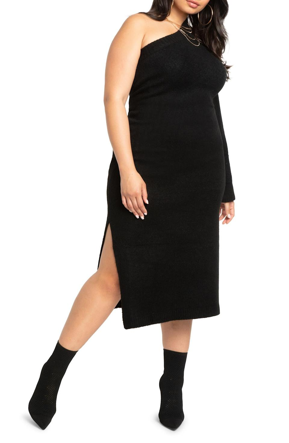 """<h2>Eloquii One-Shoulder Sweater Dress </h2><br><strong>Best Plus-Sized Ribbed Knit Sweater Dress </strong><br><em>Size Range: 14-28</em><br><br>Who says you can't show a little skin in winter? This dress proves that notion wrong with an asymmetrical neckline that won't leave you completely in the cold <em>or</em> too bundled up. Just note that, while the dress is machine-washable, you will need to airdry it after. <br> <br><em>Shop <strong><a href=""""https://go.skimresources.com/?id=30283X879131&isjs=1&jv=15.2.0-stackpath&sref=https%3A%2F%2Fwww.refinery29.com%2Fen-us%2Fplus-size-sweater-dresses%23slide-1&url=https%3A%2F%2Fwww.nordstrom.com%2Fs%2Feloquii-one-shoulder-sweater-dress-plus-size%2F6453923&xguid=01ERGDHBXNJ489J9KBAH8RZJH0&xs=1&xtz=240&xuuid=13a7fbd9948972339c551d8b8235af4b&xjsf=other_click__contextmenu%20%5B2%5D"""" rel=""""nofollow noopener"""" target=""""_blank"""" data-ylk=""""slk:Nordstrom"""" class=""""link rapid-noclick-resp"""">Nordstrom </a></strong></em><br><br><strong>Eloquii</strong> One-Shoulder Sweater Dress, $, available at <a href=""""https://go.skimresources.com/?id=30283X879131&url=https%3A%2F%2Fwww.nordstrom.com%2Fs%2Feloquii-one-shoulder-sweater-dress-plus-size%2F6453923"""" rel=""""nofollow noopener"""" target=""""_blank"""" data-ylk=""""slk:Nordstrom"""" class=""""link rapid-noclick-resp"""">Nordstrom</a>"""