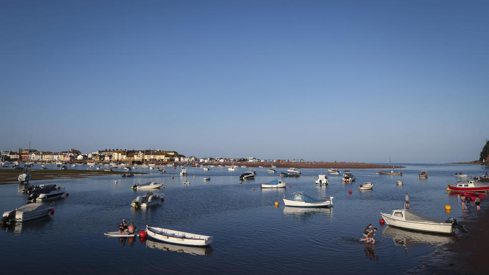 A view of the Teign estuary taken from Shaldon, Devon, England looking across to the holiday resort of Teignmouth, Monday July 19, 2021. (AP Photo/Tony Hicks)
