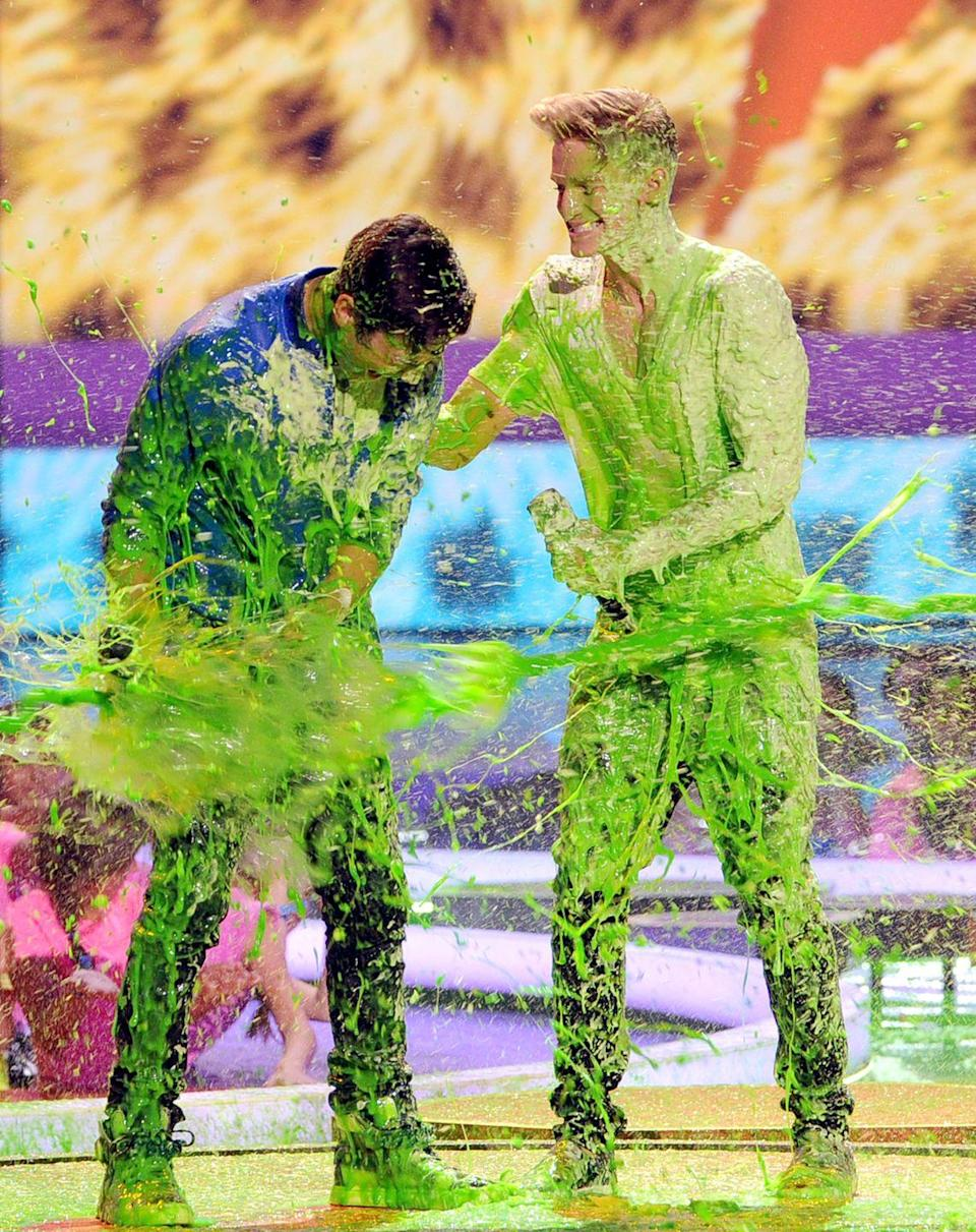 <p>Whoever slimed these two really, um, went for a specific target.</p>