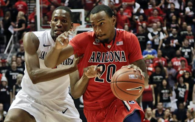 San Diego State guard Dakarai Allen, left, gets a hand under the arm of Arizona guard Jordin Mayes during the first half of an NCAA college basketball game Thursday, Nov. 14, 2013, in San Diego. (AP Photo/Lenny Ignelzi)