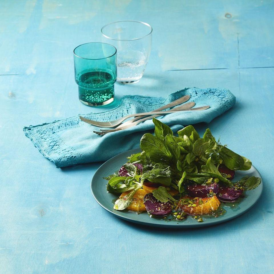 """<p>Refreshing and light are the perfect two words to describe this healthy salad that only takes 20 minutes to put together. </p><p><em><strong><a href=""""https://www.womansday.com/food-recipes/a32292241/mache-beet-and-orange-salad-recipe/"""" rel=""""nofollow noopener"""" target=""""_blank"""" data-ylk=""""slk:Get the recipe for Mâche, Beet, and Orange Salad"""" class=""""link rapid-noclick-resp"""">Get the recipe for Mâche, Beet, and Orange Salad</a>.</strong></em></p>"""