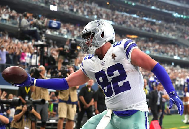 So far so good in Jason Witten's return to the Cowboys from the Monday Night Football booth. (Getty)