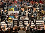 <p>Mars joined the performance in an all-black leather-look sweatsuit.</p>