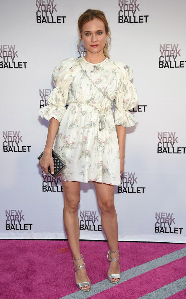 <p>So many good looks we had to include her twice this week. The actress, who's known for her impeccable sense of style and lack of stylist, donned a bell sleeved floral dress for the ballet's biannual fundraiser. <i>[Photo: Getty]</i></p>
