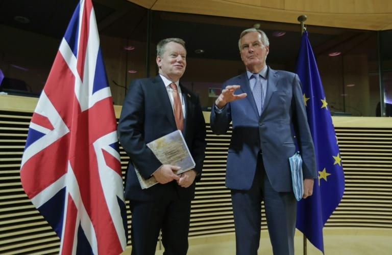 Britain's chief negotiator David Frost and his EU counterpart Michel Barnier held face-to-face talks in Brussels in March (AFP Photo/Olivier HOSLET)
