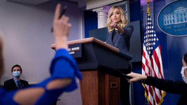 PHOTO: White House Press Secretary Kayleigh McEnany take questions during a briefing at the White House on May 12, 2020, in Washington. (Brendan Smialowski/AFP via Getty Images)