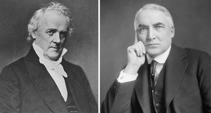 Presidents James Buchanan (left) and Warren Harding (right).