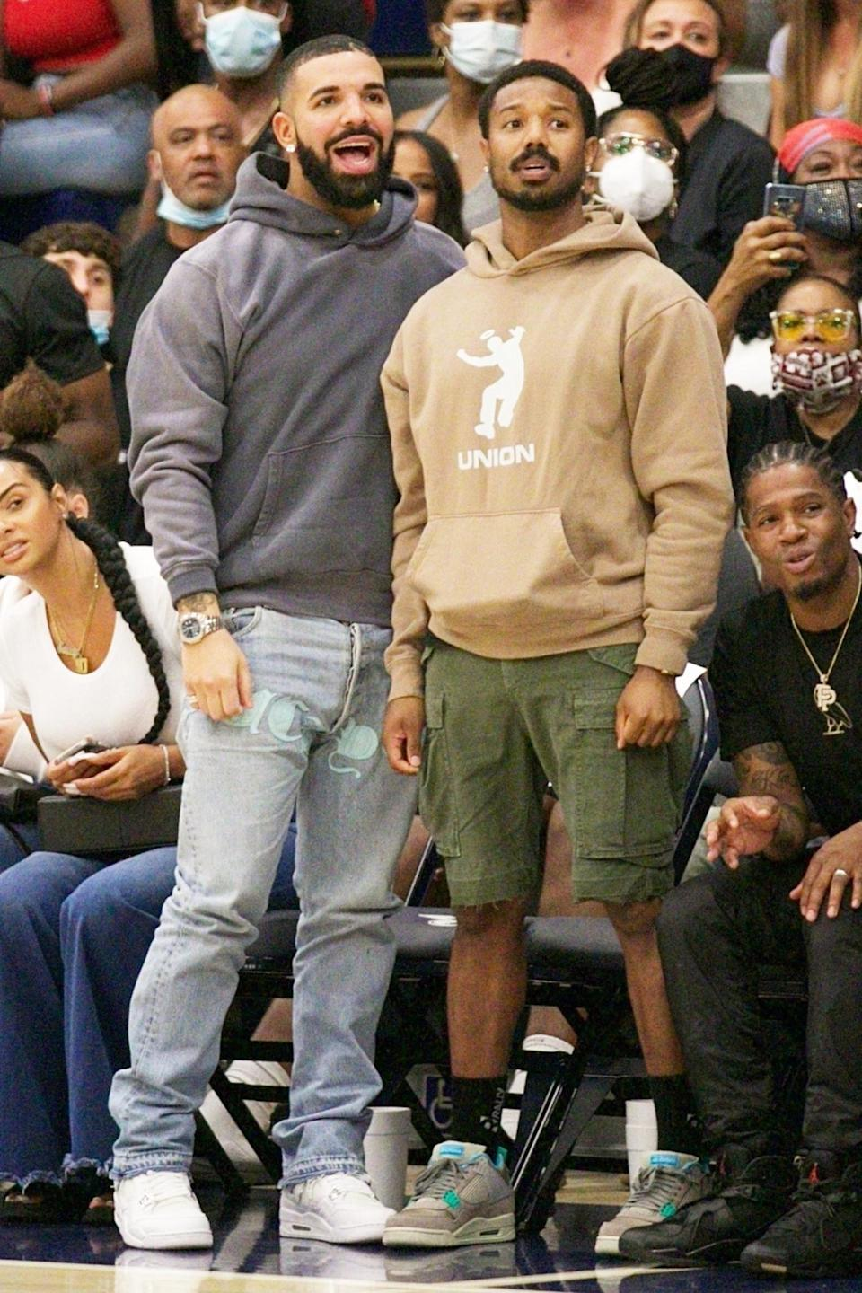 <p>Drake and Michael B. Jordan grab front-row seats on June 17 to watch the Sierra Canyon varsity basketball squad - a.k.a. the team of LeBron James' teen son Bronny - in their last game of the season.</p>
