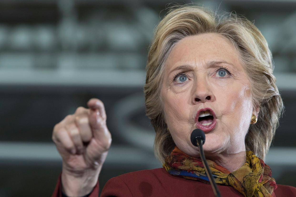 Democratic presidential candidate Hillary Clinton speaks during a campaign event at the Taylor Allderdice High School, Oct. 22, 2016, in Pittsburgh, Pa. (AP Photo/Mary Altaffer)
