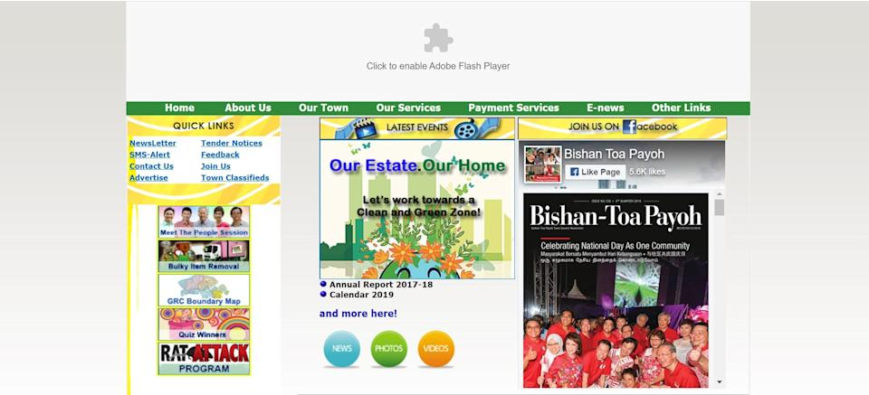 Adobe Player is blocked. Screenshot: Bishan Toa-Payoh Town Council website