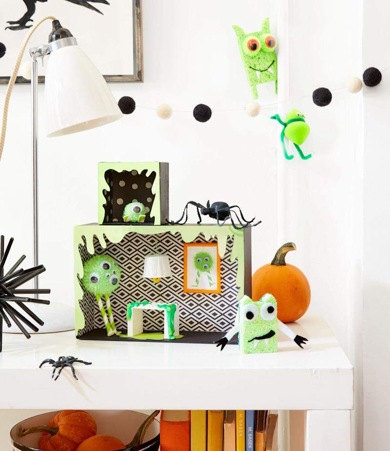 green and black monster house