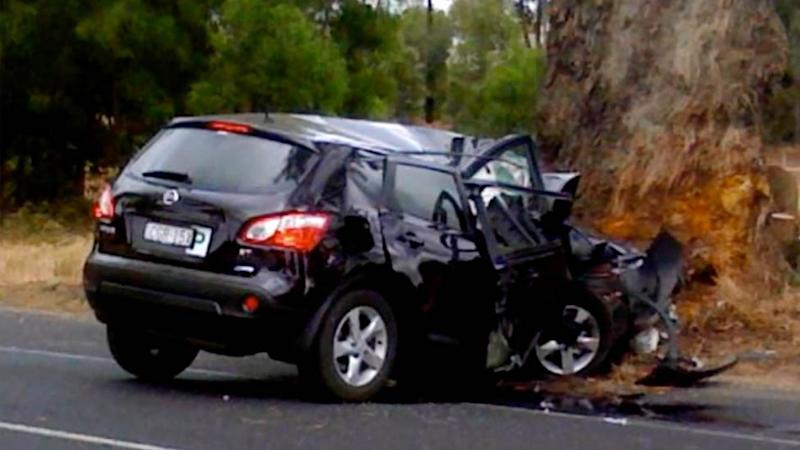 Brooke Richardsons car after she became distracted while texting and driving and slammed into a tree.