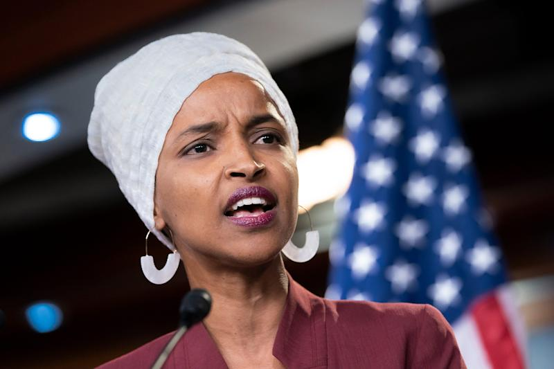Rep. Ilhan Omar, D-Minn., respond to remarks by President Donald Trump after his call for the four Democratic congresswomen to go back to their