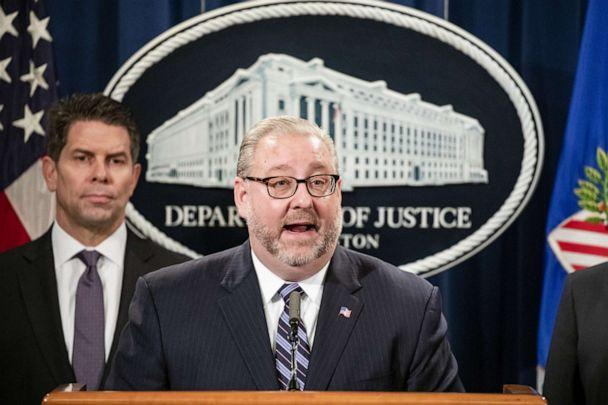 PHOTO: Assistant Attorney General Brian Benczkowski announces warrants for the arrests of Maksim Viktorovich Yakubets and Igor Olegovich Turashev at the U.S. Department of Justice on Dec. 5, 2019 in Washington, D.C. (Samuel Corum/Getty Images)