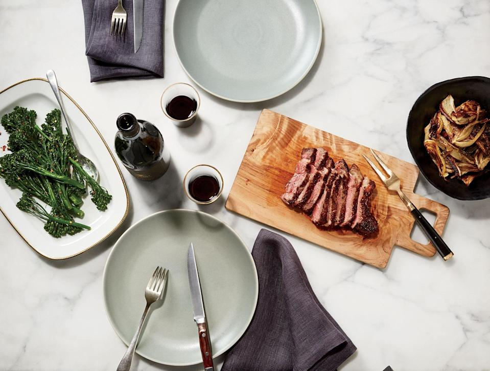 """The same technique and proportions will work for a pork chop, lamb chops, or any other steak you like. <a href=""""https://www.bonappetit.com/recipe/rib-eye-with-slow-roasted-fennel-and-steamed-broccolini?mbid=synd_yahoo_rss"""" rel=""""nofollow noopener"""" target=""""_blank"""" data-ylk=""""slk:See recipe."""" class=""""link rapid-noclick-resp"""">See recipe.</a>"""