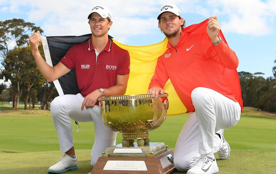 MELBOURNE, AUSTRALIA - NOVEMBER 25: Thomas Detry and Thomas Pieters of Belgium pose with the trophy after winning during day four of the 2018 World Cup of Golf at The Metropolitan on November 25, 2018 in Melbourne, Australia. (Photo by Quinn Rooney/Getty Images)