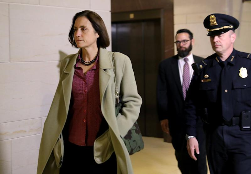 Fiona Hill, former senior director for European and Russian affairs on the National Security Council, arrives to review her testimony in the impeachment hearings: REUTERS