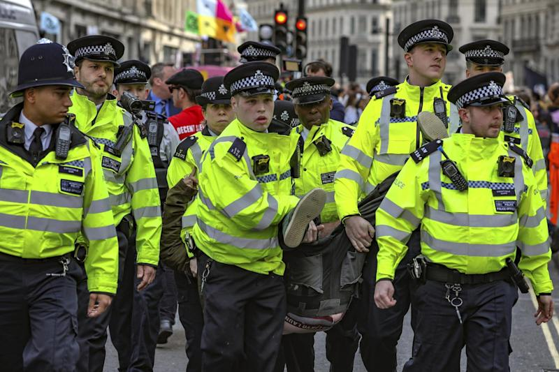 Officers in Oxford Circus on Thursday (AP)