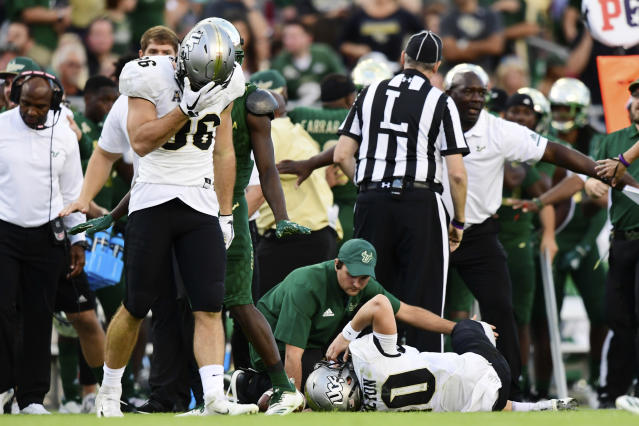 Receiver Michael Colubiale (86) reacts after McKenzie Milton's injury during UCF's game against USF on Nov. 23. (Getty)