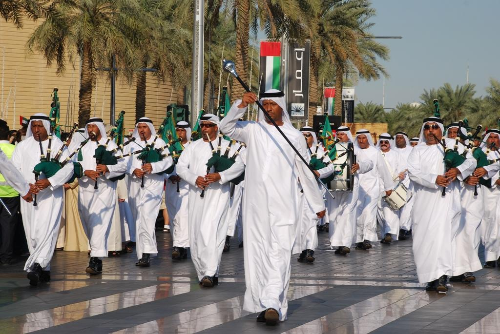 Emirati bagpipe players pictured at the National Day parade.