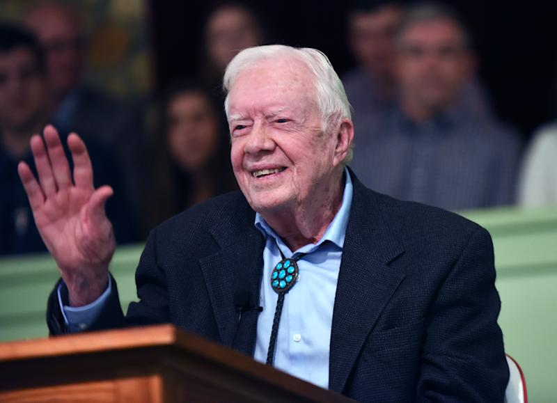 Former President Jimmy Carter after teaching Sunday school at Maranatha Baptist Church in his hometown of Plains, Ga. (Photo: Paul Hennessy/NurPhoto via Getty Images)