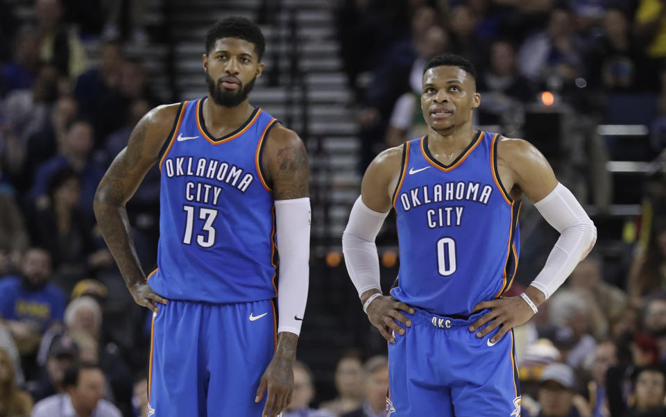 Paul George staying put to team with Russell Westbrook gives Oklahoma City a star tandem to build around, even if the math is about to get very tricky. (AP)