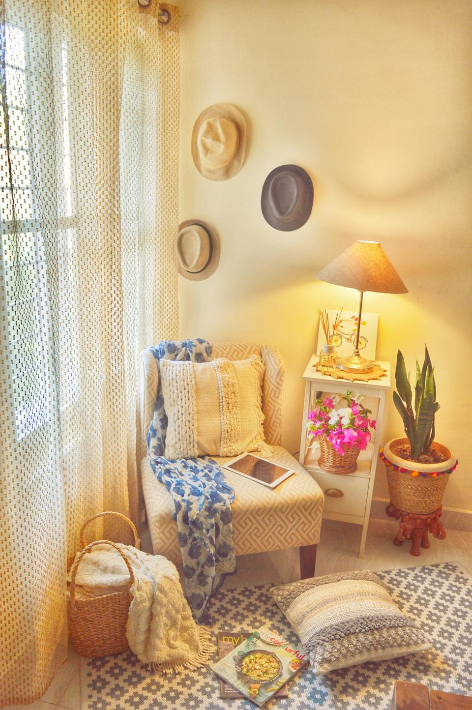 A reading nook in the master bedroom is where Preeti enjoys some me-time with a cup of coffee and a good read.