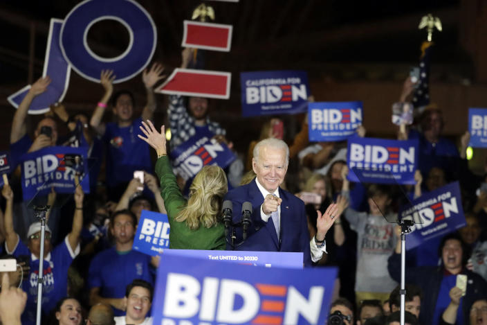 Democratic presidential candidate former Vice President Joe Biden speaks at a primary election night campaign rally Tuesday, March 3, 2020, in Los Angeles. (AP Photo/Chris Carlson)