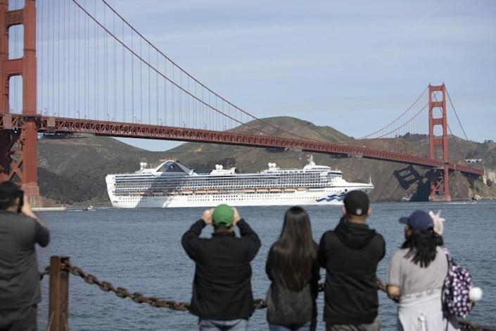"The Grand Princess in March sailed under the Golden Gate Bridge to dock in Oakland. Two voyages on the ship led to 159 COVID-19 cases and eight deaths. <span class=""copyright"">(Peter DaSilva / For The Times)</span>"